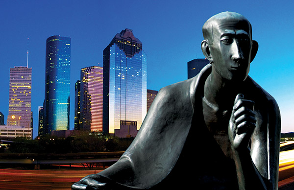 Albertus Magnus Statue in front of Downtown Houston