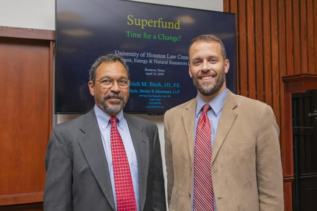 Eric Birch of Birch, Becker & Moorman, left, and University of Houston Law Center Professor Blake Hudson, the A.L. O'Quinn Chair in Environmental Studies, right.